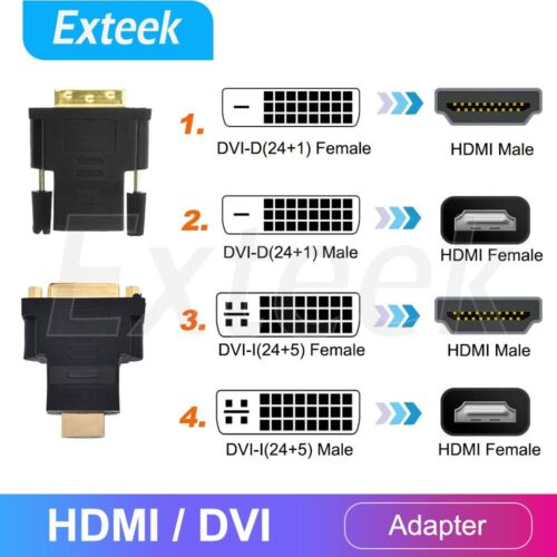 HDMI Male Plug To DVI Female Socket Adapter Converter Gold Plated