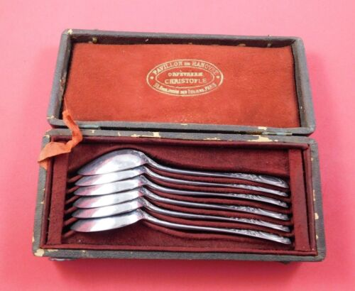 Ecusson Louis XVI by Christofle Silverplate Teaspoon Set 6pc in Fitted Box