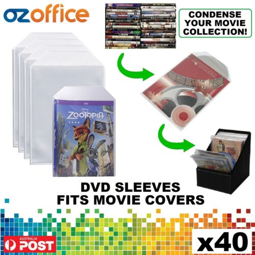PREMIUM 40 x Clear DVD Plastic Sleeves w/ Flap - DVD Sleeves Fits Movie Covers