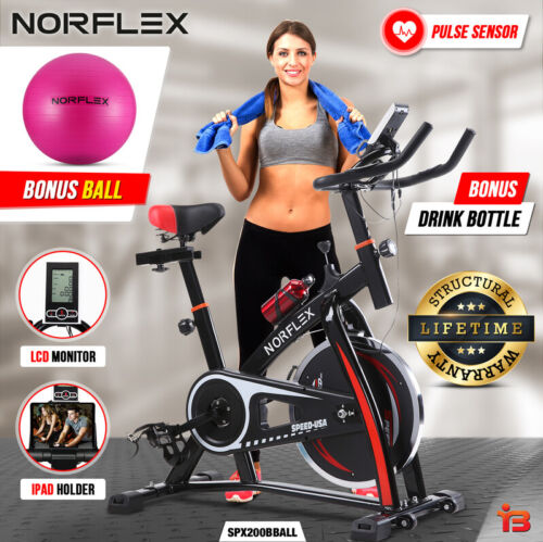 Norflex Spin Bike Exercise Ball Flywheel Fitness Commercial Home Workout Gym <br/> COMMERCIAL, Fully Adjustable, LCD Screen, Pulse Monitor