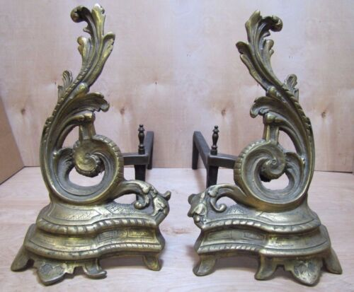 Old Andirons Brass Bronze Cast Iron Decorative Art Fire Dogs Fireplace Tools
