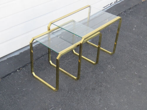 Hollywood Regency Distressed Nesting Tables Set of Two 8825