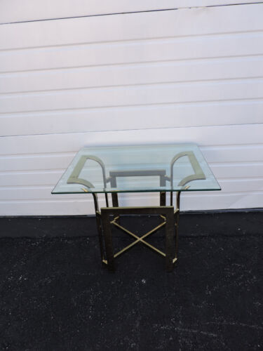 Hollywood Regency Mid Century Brass Glass Top Side End Table 6602