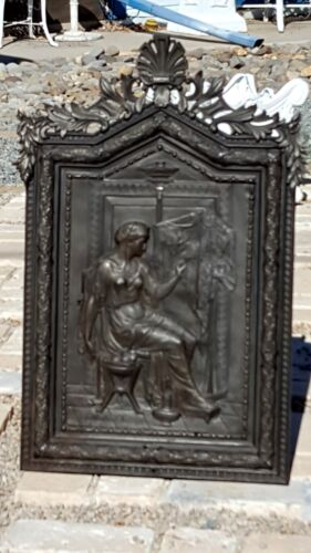 FAB RARE Antique INTRICATE 3D METAL ORNATE GRECIAN LADY Wood Wall Cabinet!