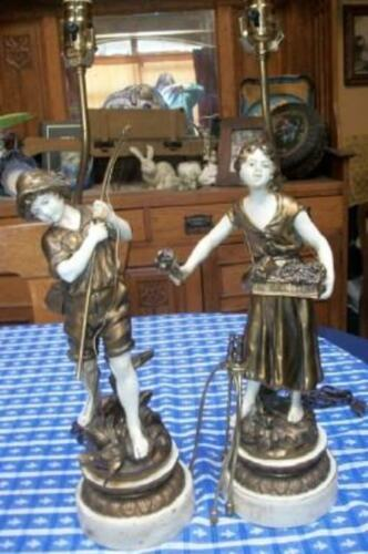 ANTIQUE FRENCH MOREAU FIGURAL LAMPS SPELTER INCREDIBLE DETAIL SIGNED