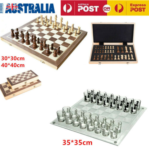 Large Chess Wooden Set Folding Chessboard Magnetic Pieces Wood Board