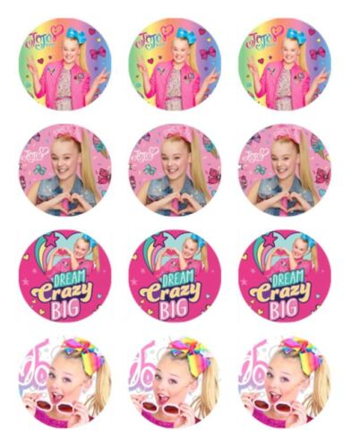 24 JOJO SIWA Cupcake Edible Wafer Paper Birthday Cake Decoration Toppers 1