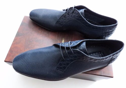 $2000 STEFANO RICCI Blue Perforated Leather Oxford Shoes 11 US 44 Euro 10 UK