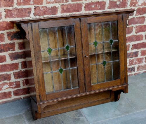 Antique English Oak Arts & Crafts Hanging Wall Cabinet Shelf STAINED GLASS Large