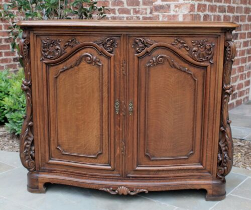 Antique French  Rococo Revival Bow Front Server Sideboard Cabinet Buffet