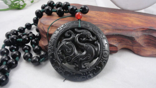 Free shipping Chinese jade  Hand Carved Dragon Pendant Dragon-Free Necklace%