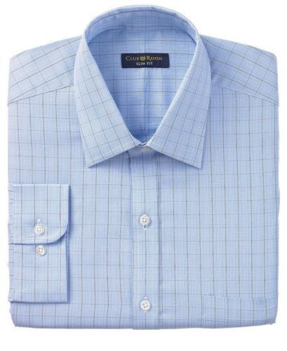 Club Room Slim Fit Blue Glen Plaid 100% Cotton Easy Care Dress Shirt 15.5 32/33