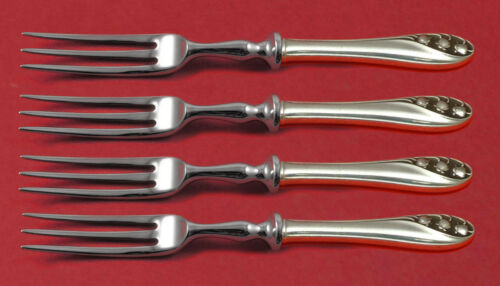 """Lily of the Valley by Gorham Sterling Silver Fruit Fork Set 4pc HH WS Custom 6"""""""