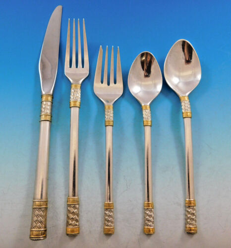 Aegean Weave Gold by Wallace Sterling Silver Flatware Set 12 Service 60 pieces