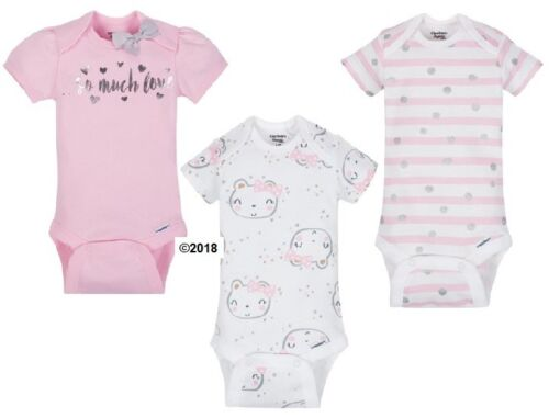 """Gerber Baby Girl 3-Piece Organic Cotton Pink """"So Much Love"""" Onesies Size 12M"""