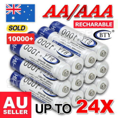 4-24x 3000mAh AA/1000mAh AAA Rechargeable Battery NI-MH 1.2V Recharge Batteries <br/> 🔥1 PC ONLY $0.57 !!!🔥SYD STOCK🔥FREE SHIPPING🔥HOT