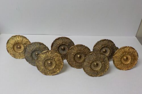 Set/8 19th C. Heavy French Brass Rosette Curtain Tie Backs