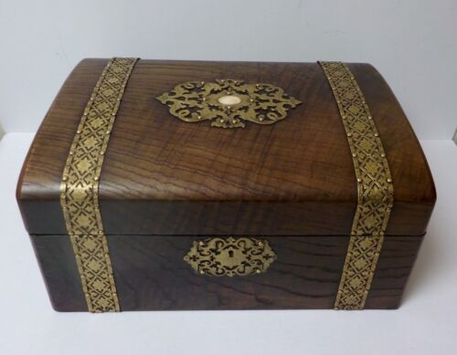 19th C. English Large Document Box, Reticulated Brass Bands