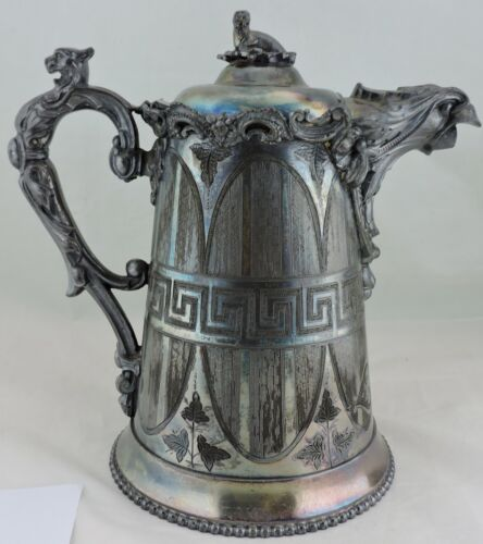 ANTIQUE 1863 SILVER PLATE COFFEE POT KAUFMANN EAGLE LION WALRUS GREEK KEY