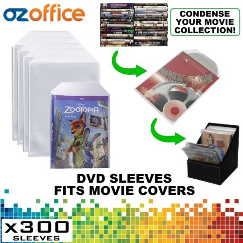 PREMIUM 300 x Clear DVD Plastic Sleeves w/ Flap - DVD Sleeves Fits Movie Covers