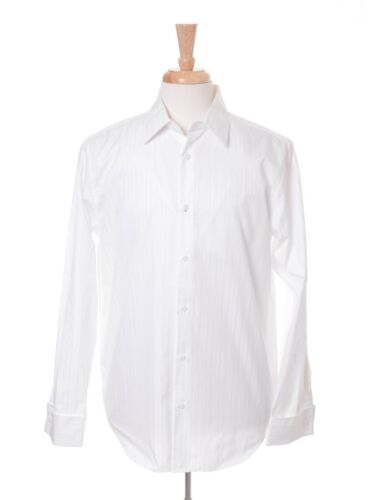 Calvin Klein White Tonal Striped 100% Cotton Long Sleeve French Cuff Dress Shirt