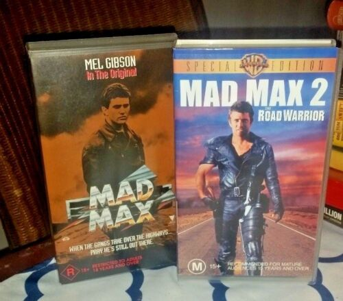 MAD MAX/MAD MAX 2 videos/vhs Road Warrior spec ed- Mel Gibson Village Roadshow