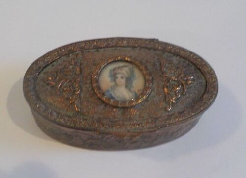 French Engraved Copper Trinket Box, Watercolor Portrait Insert, c. 1900
