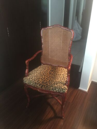 PAIR DINING ROOM ARM CHAIRS, CHIPPENDALE STYLE FAUX BAMBOO,LEOPARD SEATS-