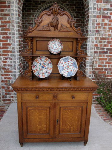 Antique French Country Tiger Oak Plate Dresser Server Buffet Sideboard
