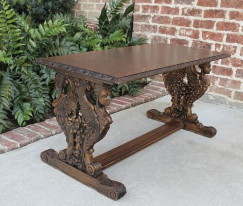 Antique French Carved Tiger Oak Egyptian Revival Trestle Base Coffee Table Bench