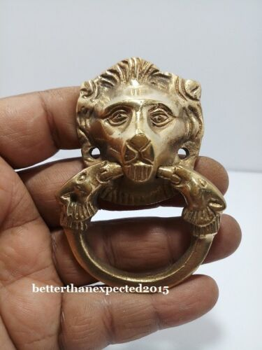 ANTIQUE Style Brass DOOR KNOCKER - LION Style - Fully Brass - RARE LD110