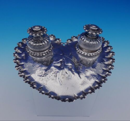 Edward Brown English Sterling Silver Inkwell Set w/Heart Shaped Tray 3pc (#3195)