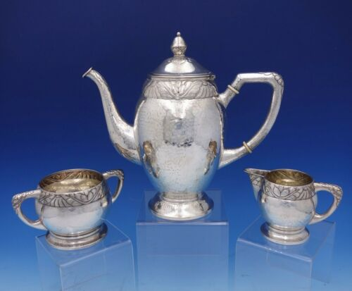 Danish Sterling Silver Coffee / Tea Set 3-Piece Hammered Art Deco Band (#3171)