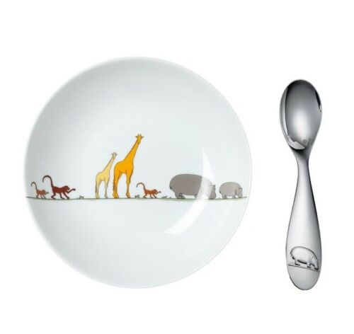 Savane by Christofle Paris Silver Plate Child Plate and Baby Spoon Set New