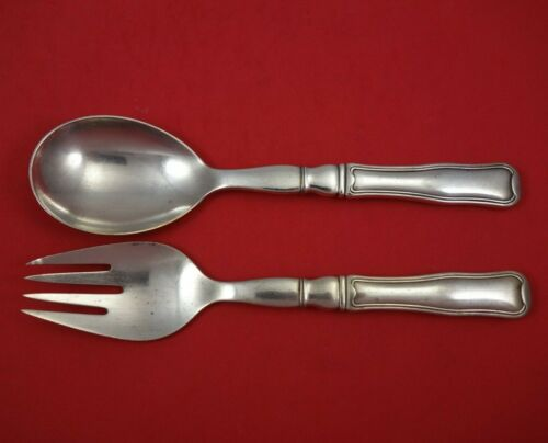 Old Danish by Georg Jensen Sterling Silver Salad Serving Set 2pc HH AS 8 1/4""