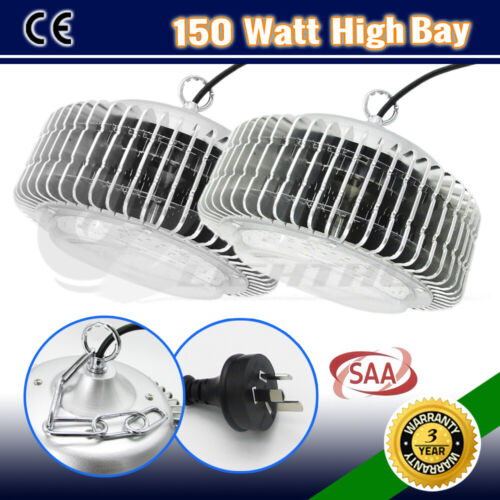 2 x 150W LED HIGH LOW BAY WORK LIGHT WAREHOUSE INDUSTRIAL FACTORY WORKSHOP LAMP <br/> Certified to Australian Standards