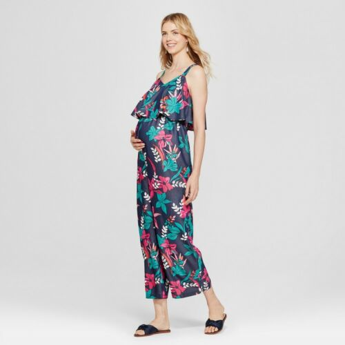 Isabel Maternity by Ingrid Navy Floral Flounce Bodice Sleeveless Jumpsuit, XXL