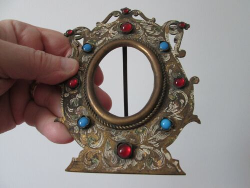 Antique late 1800s to early 1900 - BRASS JEWELED - MINATURE PHOTO FRAME