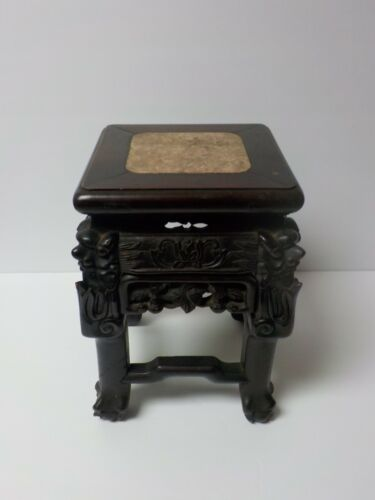 19th C. Chinese Carved Wood Stand for Large Vase, Marble Top