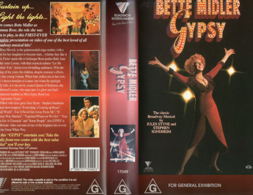 GYPSY - Midler - VHS -PAL -NEW -Never played!! -VERY RARE!! -Original Oz release