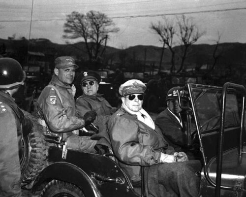 New 8x10 Korean War Photo: Douglas MacArthur and Generals Near 38th ParallelReproductions - 156441