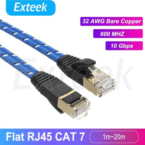 CAT7 RJ45 10Gbps Ethernet Network Lan Cable Flat Shielded patch lead