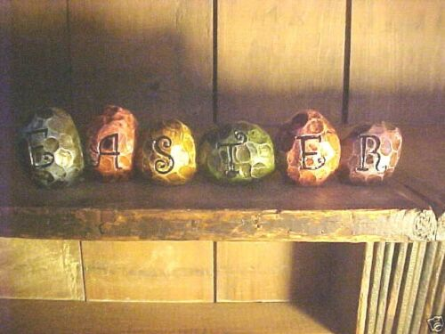 "Primitive style ""Easter"" Sign Egg Distressed Shapes Country Colors"