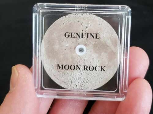 BASIC EDITION- MOON ROCK DISPLAY -LUNAR METEORITE  + EASEL + CERTIFICATE