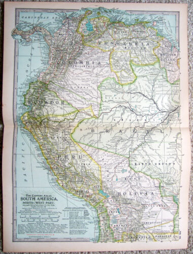 Original 1897 Map of the North Western Part of South America - Antique