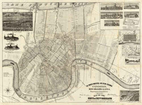 1885 Map New Orleans Industrial And Cotton Centennial Exposition Wall Art Poster