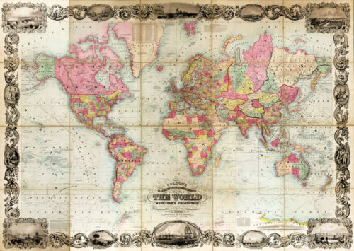 1854 World Map Mercator's Projection Vintage Wall Poster Home School Office