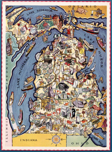 Early Mid-century Michigan Map Wall Poster Print Vintage History Home School