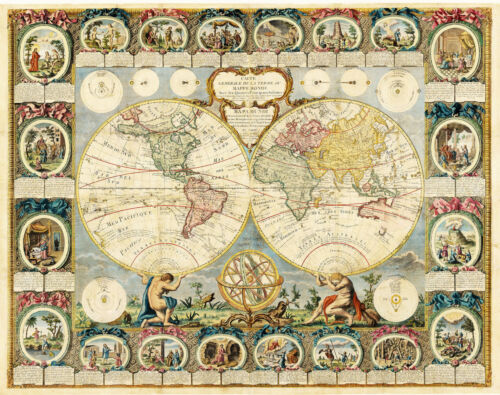 1776 Mappe Monde Historic Double Hemisphere Map of the World Poster Print Decor