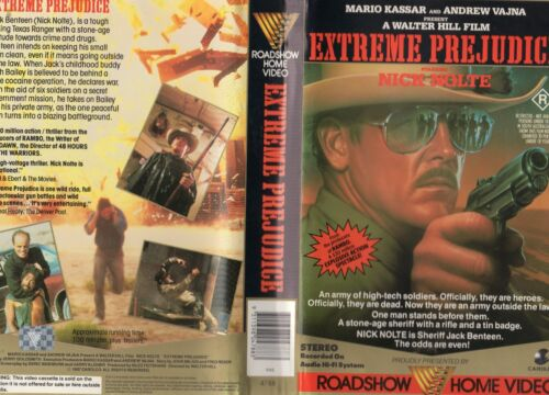 EXTREME PREJUDICE -Nick Nolte- VHS -PAL -NEW -Never played! -Original Oz release